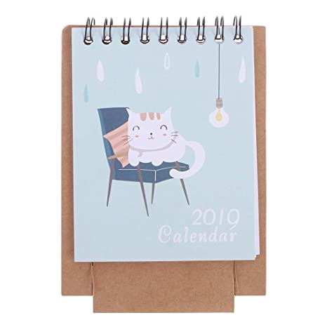 Amazon.com : Wodwad 2019 Mini Desktop Paper Calendar Daily ...