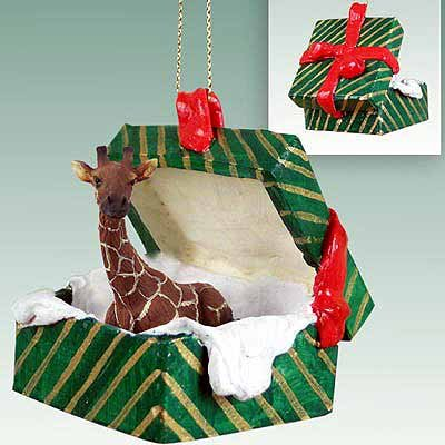 Giraffe Gift Box Christmas Ornament - DELIGHTFUL! Christmas Giraffe Ornament