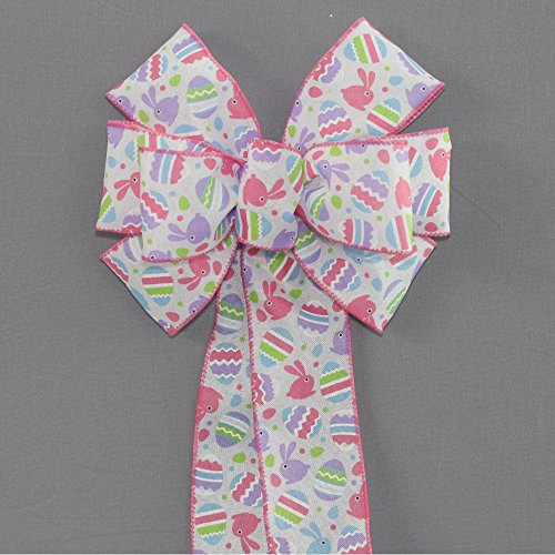 Pastel Easter Egg Bunny Wreath Bow - available in 2 sizes