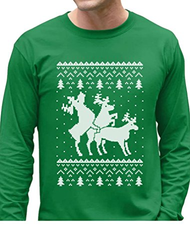 Ugly Christmas Party Sweater Humping Reindeer Funny Long Sleeve T-Shirt