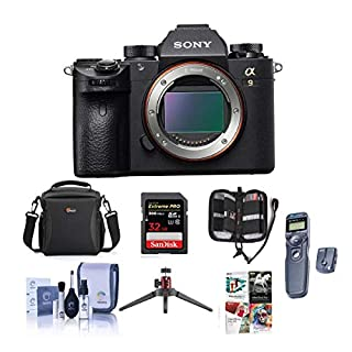 Sony Alpha a9 Mirrorless Digital Camera, Full Frame - Bundle with Camera Case, 32GB SDHC U3 Card, Wireless Remote Shutter, Cleaning Kit, Memory Wallet, Software Package, Table Top Tripod