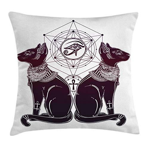 Lunarable Egyptian Throw Pillow Cushion Cover, Vintage Hand Drawn Cat Figure Sacred Geometry Shapes Tattoo Art, Decorative Square Accent Pillow Case, 18 X 18 Inches, Dark Purple Black White