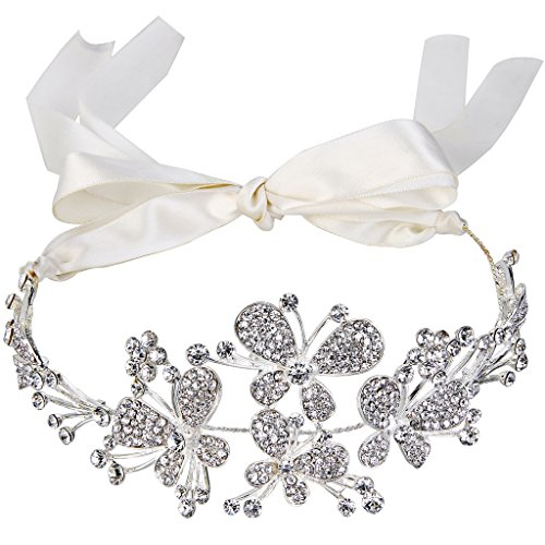 BriLove Women's Bohemian Butterfly Crystal Bridal Ribbon Tie Hair Accessory Headband Silver-Tone Clear (Butterfly Headband Crystal)