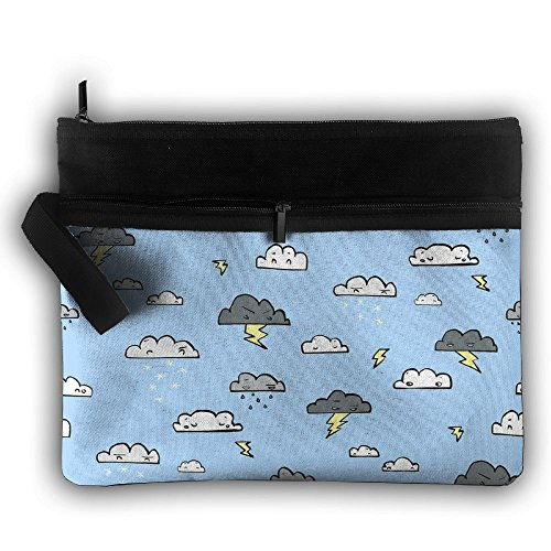 Thunder And Rain Multifunction Storage Bag Buggy Bag Travel Cosmetic Bags Double Zipper Small Makeup Clutch Pouch Cosmetic And Toiletries Organizer Bag (Silver Cross Wayfarer)