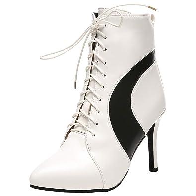 177a81d4295f YE Chaussures Ankle Boots Woman Bottes Sexy Chaude Courtes Bottine Lacet Femme  Bout Pointu à Talons Hauts Aiguilles pour Hiver Winter Shoes  Amazon.fr  ...
