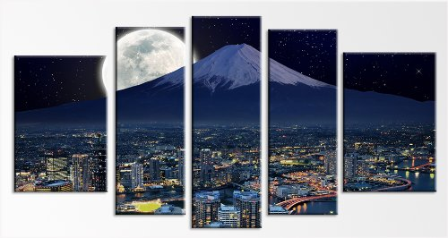 Startonight Canvas Wall Art Yokohama Moon and Mountain, Japan, Cities USA Design for Home Decor, Dual View Surprise Wall Art Set of 5 Total 35.43 X 70.87 Inch 100% Original Art Painting!