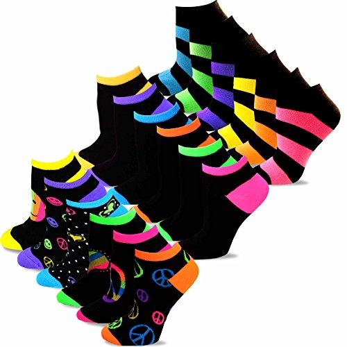 TeeHee Women's Acrylic No Show Low Cut Basic 18-Pack, (Neon Black) (Man Neon No Show Socks)