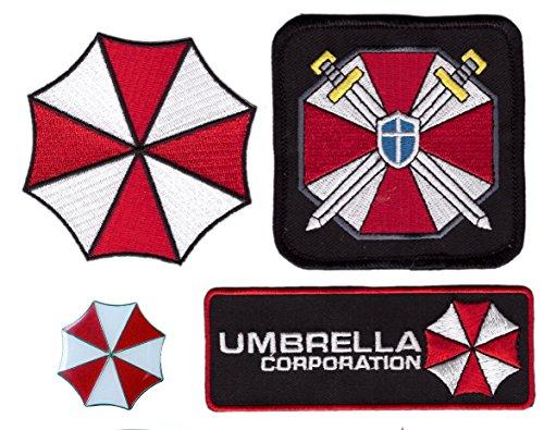 4pc Set - Pin and Security Service Umbrella Corporation Resident Evil Costume Halloween (Umbrella Security Service Costume)