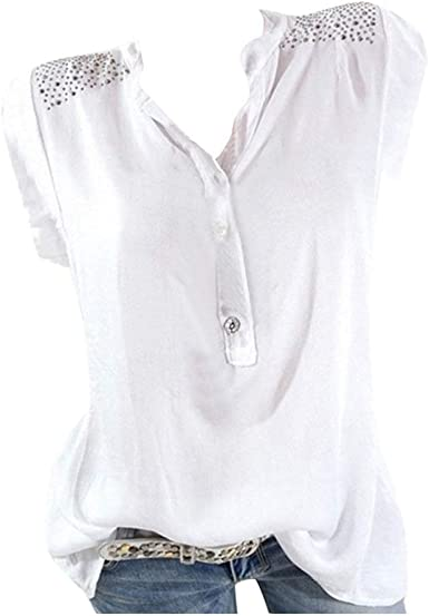 Blusas para Mujer Verano Sexy Elegantes Tallas Grandes Camisetas Mujer Manga Corta Fiesta Negra Blancas Originales Blusa Larga Escote en V Verano Tank Tops Shirt 2019 POLP: Amazon.es: Ropa y accesorios