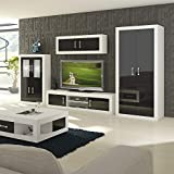 Furniture.Agency TV Set with Armoire Led Multiple Finishes, White/Black Gloss