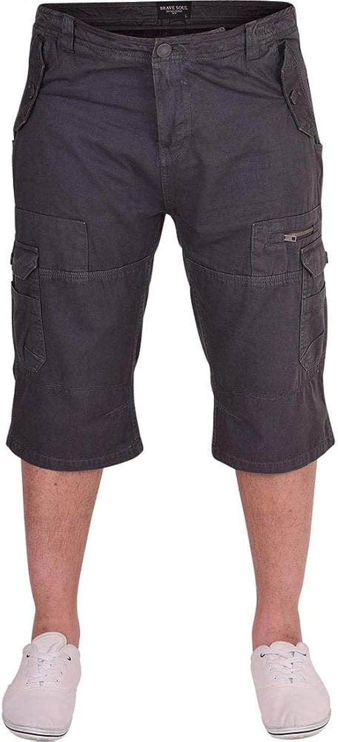 52/_DNM Mens Combat Shorts Cargo Combat Multi Pocket Cotton Knee Length Short