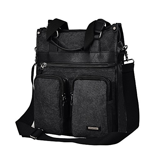 Vertical Leather Bag (Douguyan 15.6 Inch Laptop Bag Vertical Canvas Messenger Bag Shoulder Tote Bag Canvas Briefcase for Men and Women Black 235)