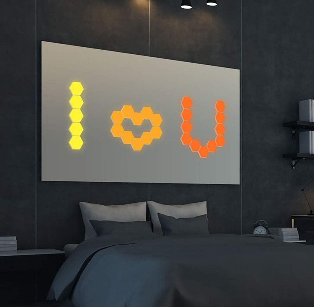 Amazon Com Luz De Pared Hexagonal De Control Remoto Inteligente Montado En La Pared Sensible Al Tacto Diy Geométrico Modular Montado Rgb Led Luz Colorida Utilizada En El Dormitorio Cuarto De Baño Sala