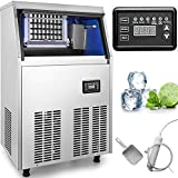 VEVOR 110V Commercial Ice Maker 132 LBS in 24 Hrs Stainless Steel with 33lbs Storage Capacity 45 Cubes Auto Clean for Bar Home Supermarkets, 132LBS in 24Hrs