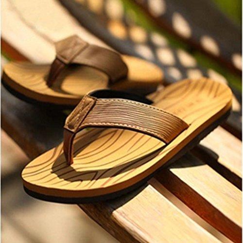 Baymate Men's Casual Beach Flat Flip Flops Breathable Sandals Yellow NQm9V