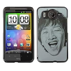 Caucho caso de Shell duro de la cubierta de accesorios de protección BY RAYDREAMMM - HTC G10 - Portrait Man Laughing Teeth