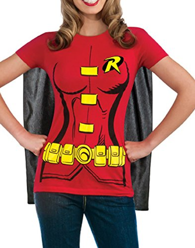 DC Comics Women's Robin T-Shirt With Cape And Eye Mask, Red, Large - http://coolthings.us