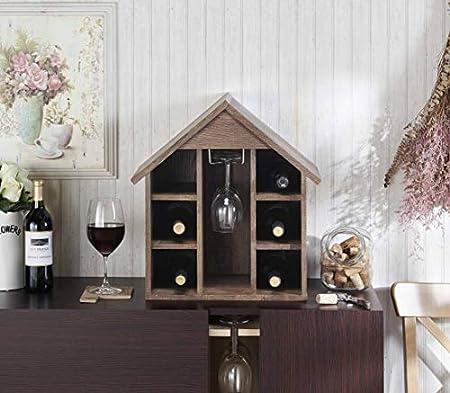Estante para botellas de vino con soporte para vidrio, estantes de almacenamiento de vino, organizador para 6 botellas y 3 tazas, para modelar casa, crear temas de discusión Focus - H0014025