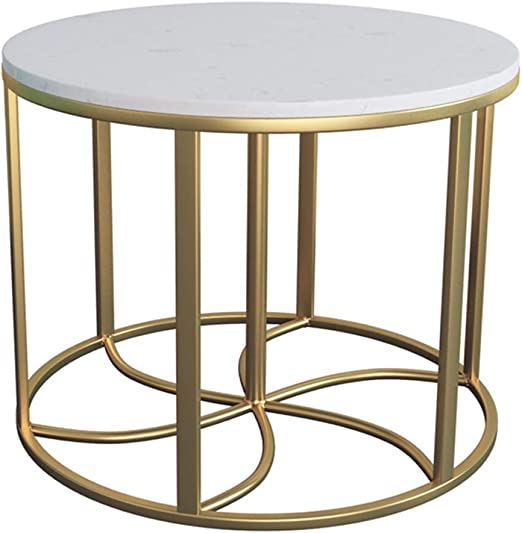 Marble Coffee Tableside Table Round Sturdy Metal Frame