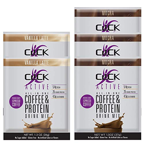 CLICK Active High Protein & Coffee, 1.3 Ounce Single Serve Packets, 3 Mocha & 2 Vanilla Latte