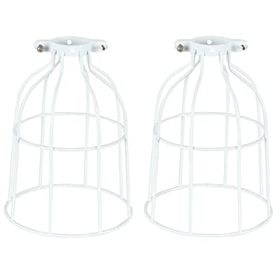 Buy 2 Packs Metal Bulb Guard For Pendant Light Vintage Lamp Holder Ceiling Fan Light Bulb Covers Open Style Industrial Grade Adjustable Diy Metal Wire Cage Light Fixture Lamp Guard Upgrade White