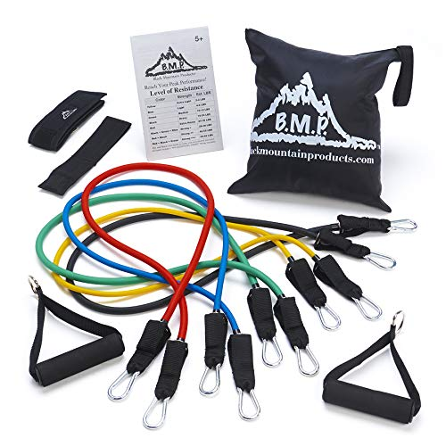 Black Mountain Products Resistance Band Set With Door Anchor Ankle Strap Exercise Chart And Carrying Case