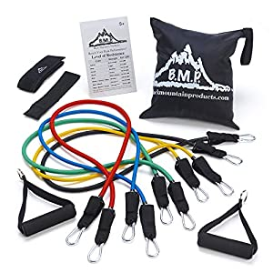 Well-Being-Matters 51q7GG6q0yL._SS300_ Black Mountain Products Resistance Band Set with Door Anchor, Ankle Strap, Exercise Chart, and Carrying Case
