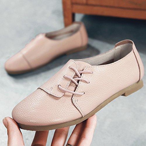 Casual Zapatos Zapatos Zapatos Mouth Shallow redondos Zapatos mujer de individuales Rosa Spring Beige mujer planos de Claro Tamaño Art HWF para Color Zapatos 35 cuero Aaqvcp787