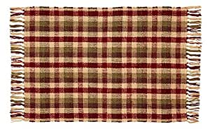 IHF Home Decor Apple Cider Cotton Woven Rug Area Accent 24 x 42 Inch Floor Carpets Rugs in Red with Green and Tan