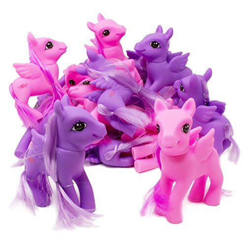 Boley 24 Pack Purple and Pink Ponies with Comb - Perfect Adorable Little Pony Set - Great as Party Favors and Gifts for Birthday Parties or Pony Parties - Great for Stocking Stuffers!