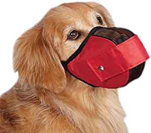 Guardian Gear Cordura Nylon Fabric Mesh Dog Muzzle, Medium, 9-1/2-Inch, Red