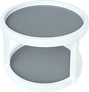Home Intuition 2-Tier Twin Turntable Non Skid Lazy Susan for Cabinets and Pantry (2)