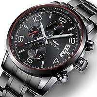 [Patrocinado] Reloj de pulsera analógico de cuarzo para hombre, de lujo, de acero inoxidable, con cronógrafo, resistente al agua, para hombres
