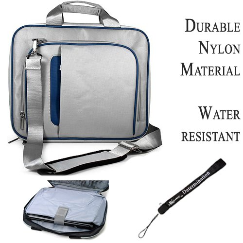 Pro Messenger Bag Soft Nylon Carrying Case (Blue Silver) For Asus Eee Slate EP121 Notebook 12.1 inch Screen