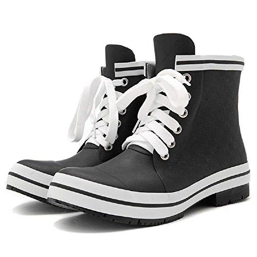 Women Rain Boots Solid Needle Sty Board or Smooth Board Waterproof Rain boots Fashion Black
