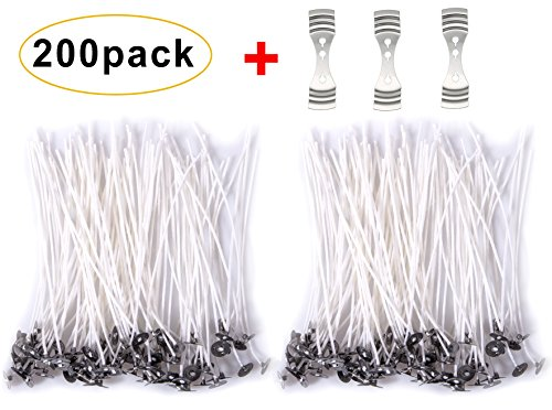 200 Pieces 6-Inch Low Smoke and Natural Candle Wicks with Tabs