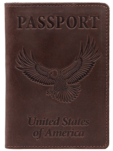 Eagles Embossed Leather (Shvigel Leather Passport Holder - Cover - for Men & Women - Passport Case with Eagle Embossed (Brown)