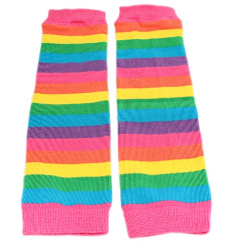 Colourful Baby World Little Girls' Rainbow Stripe Leg Warmers One Size ()