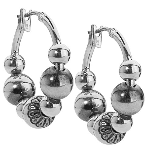 American West Sterling Silver Native Pearl Bead Hoop Earrings 1 Inch