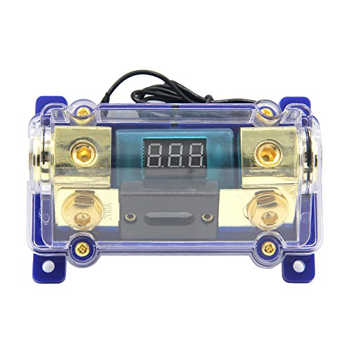 ZOOKOTO 200A Digital Circuit Breaker,Car Stereo Audio Led Display Digital Voltage Inline ANL Fuse Holder 0 2 4 Gauge in Out with 200 Amp Fuse