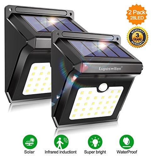 28 LEDs Solar Lights Outdoor, Motion Sensor Wireless Waterproof Security Light, Solar Lights for Garden, Patio, Yard, Driveway, Garage, Pathway by Luposwiten-2PACK
