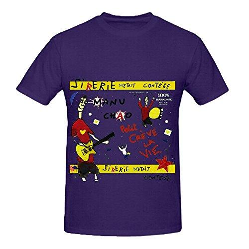 Manu Chao Sibrie Mtait Contee 80s Men O Neck Big Tall T Shirt Purple