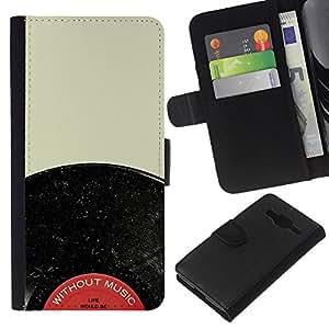 EJOY---La carpeta del tirón la caja de cuero de alta calidad de la PU Caso protector / Samsung Galaxy Core Prime / --Expediente de vinilo Audiophile Música Rojo Negro