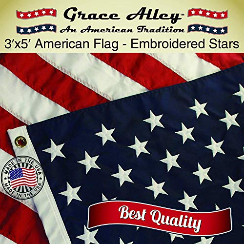 Grace Alley American Flag: American Made 3x5 FT US Flag Made in USA - Embroidered Stars and Sewn Stripes. This American Flag Meets US Flag Code. (Best Flag Material For Outside)
