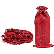 Juvale Reusable Jute Burlap Wine Bags with Drawstring - Pack of 12, Red