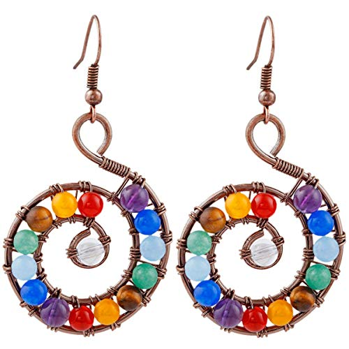SUNYIK 7 Chakra Dangel Earrings for Women,Vinatge Copper Wire Wrapped Spiral (Precious Heart Stone)