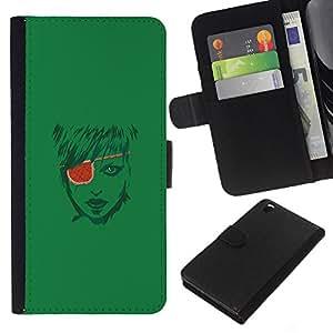 // PHONE CASE GIFT // Moda Estuche Funda de Cuero Billetera Tarjeta de crédito dinero bolsa Cubierta de proteccion Caso HTC DESIRE 816 / Pirate Girl /