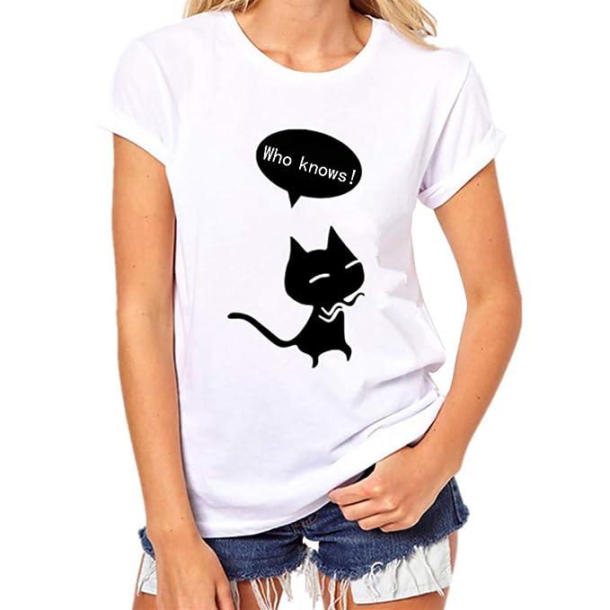 MEIbax Camisetas mujer manga corta con Cuello Redondo con Estampado De Gato y Letra Suelta Tops Casuales Camisa color sólido Camiseta Moda causal Blusa ...