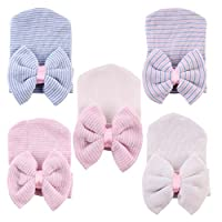 DUOPHY 5 Pcs Newborn Handmade Hat Infant Big Bow Headbands Cap Knitted Croche...
