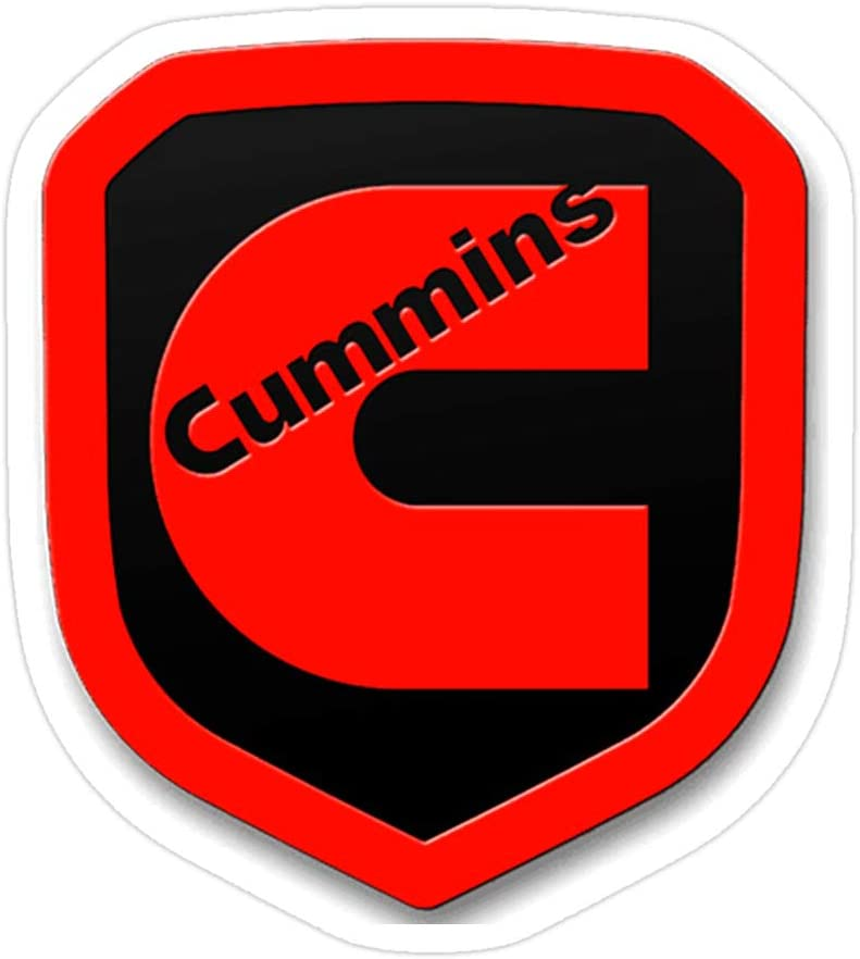 creamrinhz (3 PCs/Pack) Cummins Red Emblem 3x4 Inch Die-Cut Stickers Decals for Laptop Window Car Bumper Helmet Water Bottle